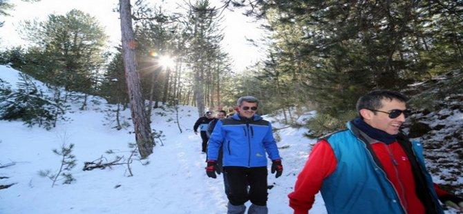 Beypazarı Belediyesi ve Kayı Doğa Sporları Derneği Kar Yürüyüşü Kirazyanı yaylasında yapıldı