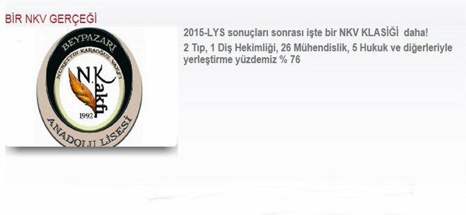 Beypazarı  NKV  Anadolu Lisesi, 2015 LYS Sonuçlarını Açıkladı.
