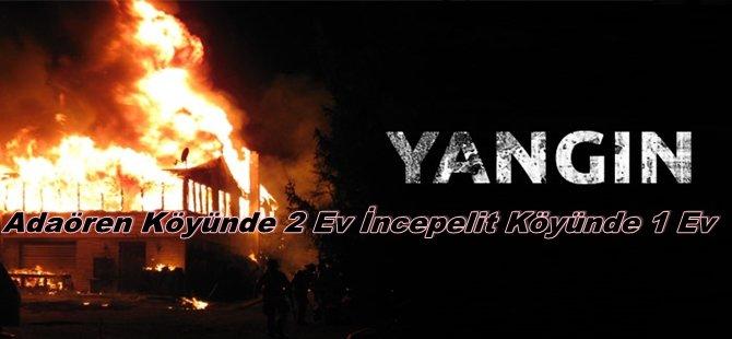 Beypazarı'nın İki Köyünde Yangın; Adaören Köyünde 2 Ev İncepelit Köyünde 1 Ev Yandı