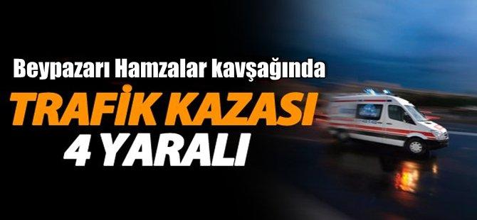 Beypazarı'nda Trafik Kazası 4 Kişi Yaralandı