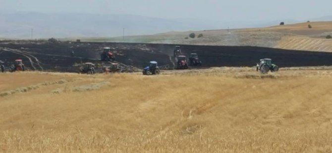 Beypazarı Oymaağaç Köyünde YANGIN ; 500 Dönüm Hububat Ekili Tarla Zarar Gördü