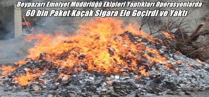 Beypazarı Emniyet Müdürlüğü Ekipleri Yaptıkları Operasyonlarda 60 bin Paket Kaçak Sigara Ele Geçirdi
