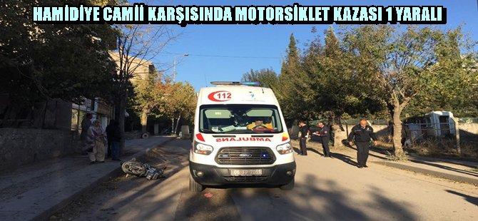 BEYPAZARI HAMİDİYE CAMİİ KARŞISINDA MOTORSİKLET KAZASI 1 YARALI