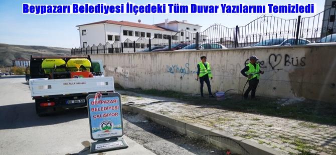 Beypazarı Belediyesi İlçedeki Tüm Duvar Yazılarını Temizledi
