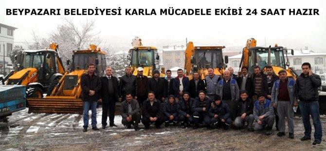 Beypazarı Belediyesi´nin karla mücadele için oluşturduğu ekipler göreve hazır