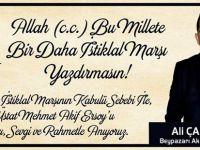 Beypazarı Ak Parti İlçe Başkanı Ali ÇAKIROĞLU'nun İstiklal Marşımızın Kabulünün 94. Yıldönümü  Mesaj