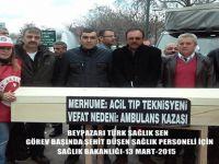 Beypazarı Hastane Çalışanlarından Türk Sağlık Sen sendikasına bağlı çalışanlar işe gitmedi