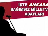 Ankara'nın Bağımsız Milletvekili Aday Listesi