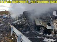 BEYPAZARILI E.B'nin KAMYONU D_750 YOLUNDA TAMAMEN YANDI..