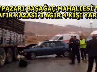 BEYPAZARI BAŞAĞAÇ MAHALLESİ'NDE TRAFİK KAZASI 3 AĞIR 4 YARALI