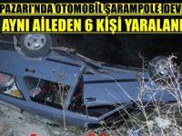BEYPAZARI'NDA OTOMOBİL ŞARAMPOLE  DEVRİLDİ AYNI AİLEDEN 6 KİŞİ YARALANDI