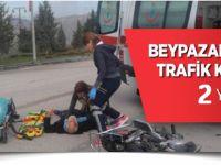 BEYPAZARI'NDA TRAFİK KAZASI  2  YARALI