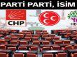 AK Parti, CHP, MHP ve HDP'nin il il milletvekilleri listeleri